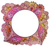 与水彩印地安明亮的桃红色佩兹利的小插图 库存图片