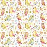 与水彩叶子、五颜六色的鸟和斑点的无缝的样式 免版税库存图片