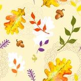 与水彩叶子的秋天无缝的样式 免版税库存照片