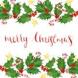 与水彩在白色背景和莓果的圣诞快乐文本隔绝的霍莉叶子,明信片,贺卡 免版税库存图片