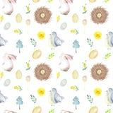 与水彩复活节兔子、鸟巢、蛋,鸟,黄色和绿色分支的无缝的样式 库存照片