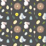 与水彩复活节兔子、鸟巢、蛋,鸟,黄色和绿色分支的无缝的样式 图库摄影