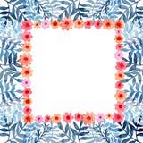 与水彩小的红色花和蓝色叶子的卡片 免版税库存图片