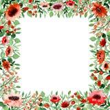 与水彩小的花和叶子的方形的卡片 库存照片