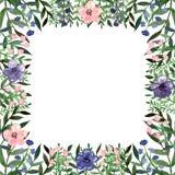 与水彩小的花和绿色叶子的方形的框架 免版税图库摄影