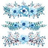 与水彩小的蓝色花束的冬天汇集 免版税图库摄影