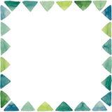 与水彩小的鲜绿色的三角的框架 免版税库存照片