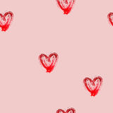 与水彩心脏的无缝的样式 免版税库存照片