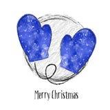 与水彩手套的圣诞卡 免版税库存图片