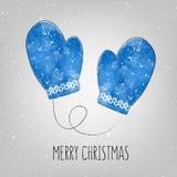 与水彩手套的圣诞快乐卡片 向量 免版税库存图片