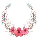 与水彩明亮的桃红色花和树枝的花圈 库存例证