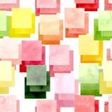 与水彩明亮的正方形的无缝的抽象纹理 免版税库存照片