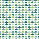 与水彩明亮的蓝色三角的无缝的几何纹理 免版税图库摄影