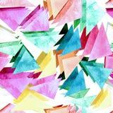 与水彩桃红色和蓝色三角的无缝的纹理 免版税图库摄影