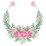 与水彩桃红色玫瑰和绿色叶子的花圈 免版税库存图片