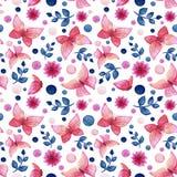 与水彩桃红色蝴蝶、花和蓝色叶子的无缝的样式 免版税库存图片