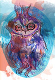 与水彩污点的猫头鹰 免版税库存图片
