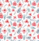 与水彩热带浅红色的花和蓝色叶子的无缝的纹理 免版税库存图片