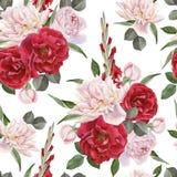 与水彩玫瑰、白色牡丹和剑兰的花卉无缝的样式开花 向量例证