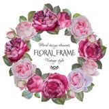 与水彩玫瑰框架的葡萄酒花卉贺卡  库存照片