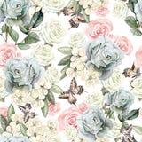 与水彩现实玫瑰、蝴蝶和植物的样式 向量例证