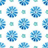 与水彩矢车菊和勿忘草的无缝的样式 蓝色花 库存照片