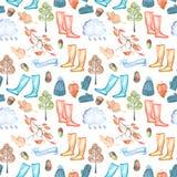 与水彩秋天的无缝的样式反对温暖的帽子和手套,胶靴、雨云,干燥树叶子和其他 皇族释放例证