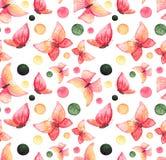 与水彩红色蝴蝶和五颜六色的小点的无缝的纹理 库存图片