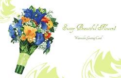 与水彩花元素的邀请卡片 免版税库存图片