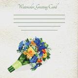 与水彩花元素的邀请卡片 库存照片