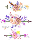 与水彩花卉元素的装饰花束:多汁植物、花、叶子、羽毛、箭头和分支 向量例证