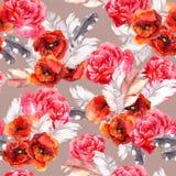 与水彩花和羽毛的无缝的花卉样式 水彩 库存图片