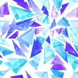 与水彩蓝色三角的无缝的重复样式 免版税库存图片