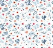 与水彩蓝色叶子和红色花的无缝的纹理 免版税库存图片
