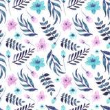 与水彩蓝色和桃红色花的无缝的样式 免版税库存图片
