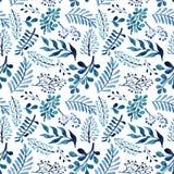 与水彩蓝色和绿色叶子和莓果的无缝的重复样式 免版税图库摄影