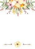 与水彩野花、分支和箭头的卡片 免版税库存图片