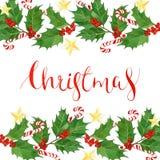 与水彩霍莉的圣诞节书法在白色背景,明信片,贺卡离开和莓果 库存图片