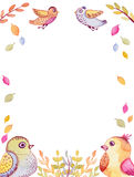 与水彩滑稽的飞鸟和叶子的框架 图库摄影