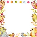 与水彩滑稽的鸟和小点的方形的Feame 免版税库存照片
