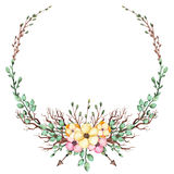 与水彩黄色和桃红色花、叶子和箭头的花圈 免版税库存图片