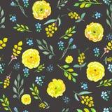 与水彩黄色和蓝色花的无缝的花卉样式 向量例证