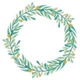 与水彩绿色和黄色叶子的花圈 免版税库存照片