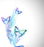 与水彩蝴蝶和抽象波浪的五颜六色的背景 免版税库存图片