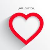 与阴影例证明信片的红色心脏纸贴纸 免版税图库摄影