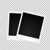 与阴影的两个减速火箭的照片框架在透明背景 库存图片