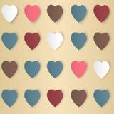 与阴影的心脏用不同的颜色,传染媒介 免版税库存照片