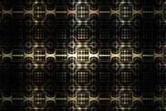 与幻想几何装饰品的抽象金属纹理在黑背景 库存图片