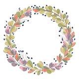 与幻想植物和叶子的花圈 邀请、婚礼或者贺卡的装饰花卉设计元素 库存照片