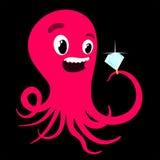 与钻戒的动画片章鱼 图库摄影